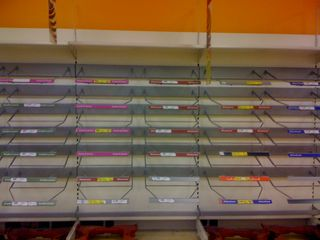 Empty shelves where there was once bread at Tesco in Bramley